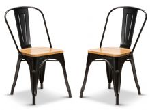 Pair of 2 Matt Black With Oak Seat Metal Industrial Tolix Style Dining Chairs 1/2 Price Deal